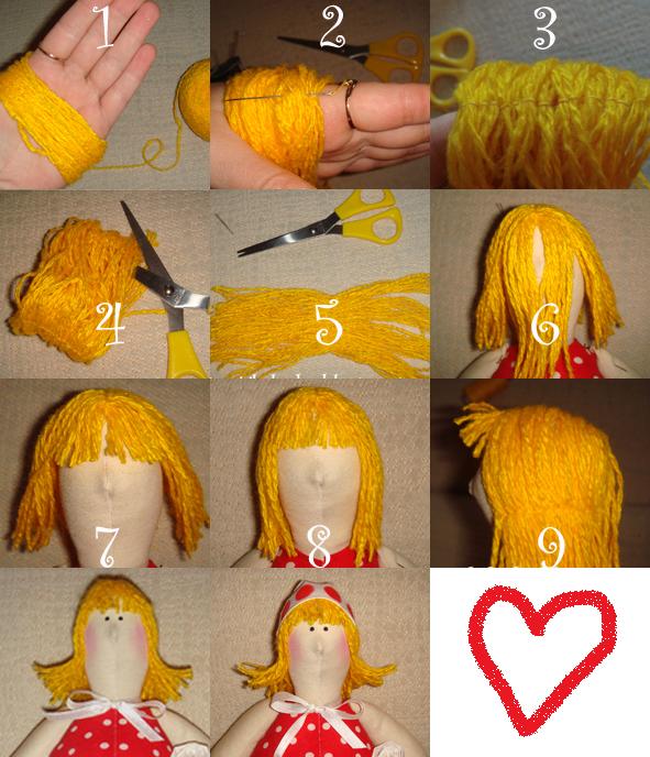 Волосы для куклы из ткани своими руками 54